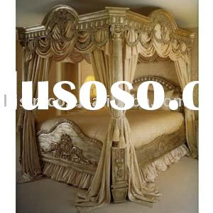 luxury european classical wood carving bed, bedroom furniture