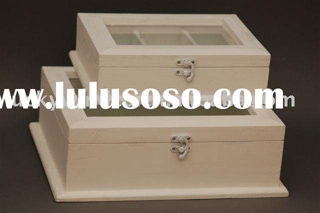 shabby chic antique decorative box with glass