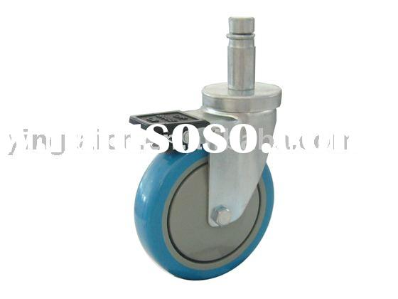 stainless steel caster wheel/roller stem caster/total brake caster