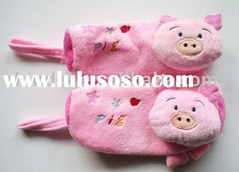 stuffed pig pencil case, plush carton pig pencil bag, fabric cartoon dog cosmetic pouch, fabric anim
