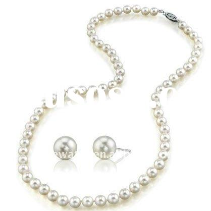 white freshwater pearl jewelry sets,925 lilver clasp