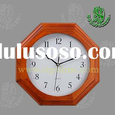 wood wall clock (wood clock,quartz clock,time piece,household)