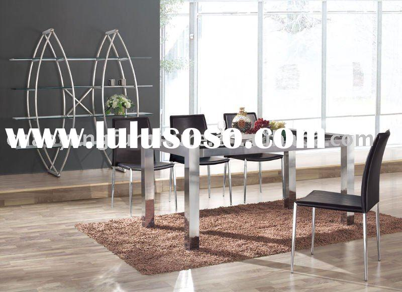 2011 Tempered Glass and Stainless Steel Modern Dining Room Set(CT0904)