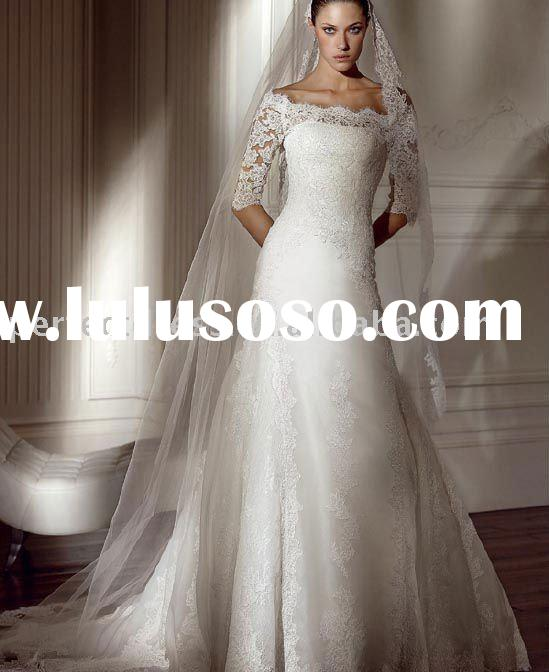2011 boat neck long sleeve wedding dress lace SC0568