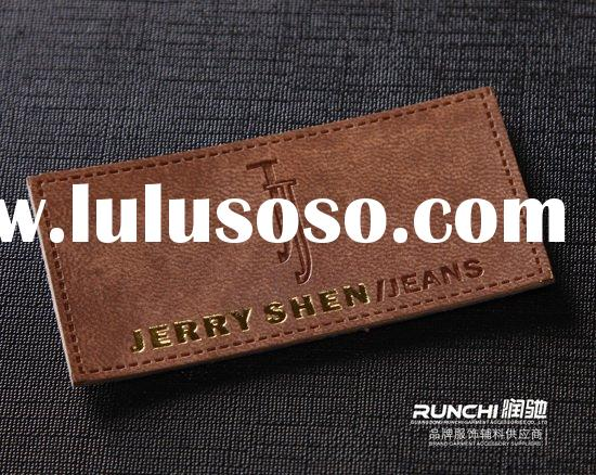 2011embossing leather label PU real leather