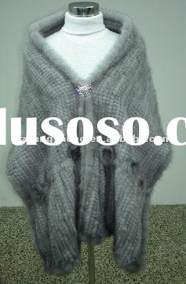 2012 LADIES KNITTED MINK FUR SHAWL,MINK FUR CAPE,MINK FUR PONCHO