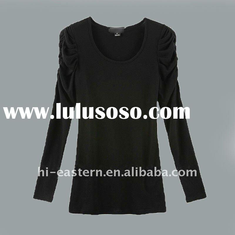 2012 new fashion style long puff sleeve soft lady t shirt