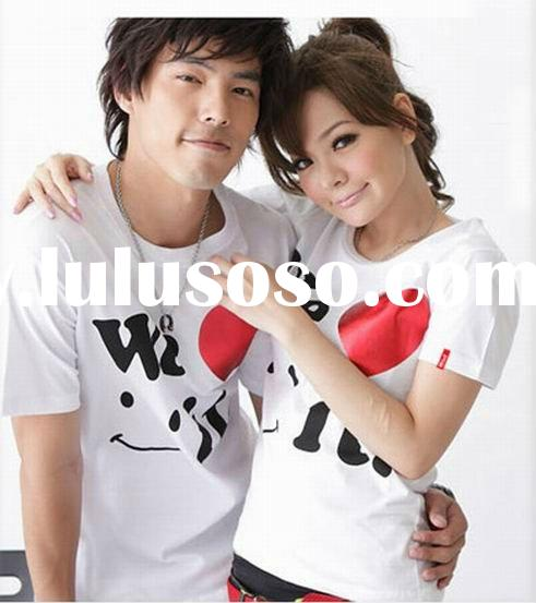2012 summer hot sale couple cotton printing t shirts in guangzhou