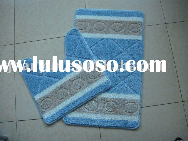 2 PC bath mat set with Anti-skid Feature and Natural Latex Rubber Backing