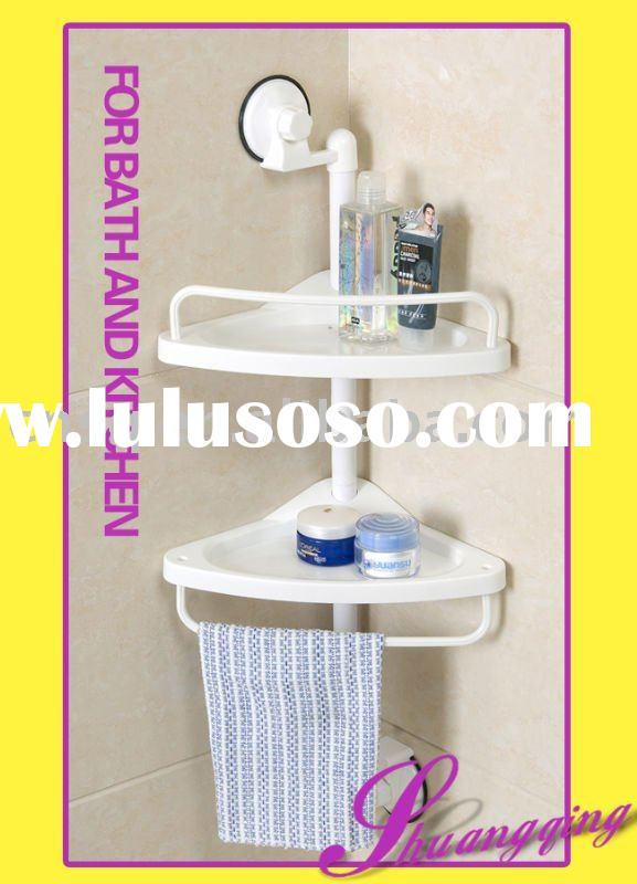 2layer plastic bathroom corner shelf with suction cup