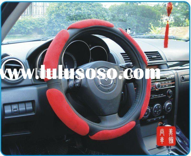 3D suede nap red auto car steering wheel covers cars accessories
