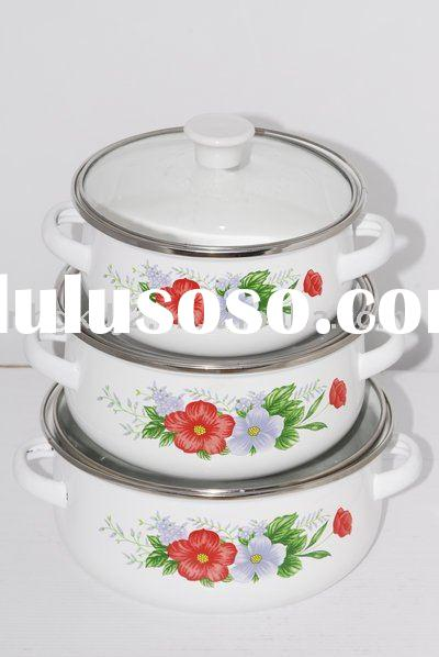 3 pcs enamel casserole with glass lid