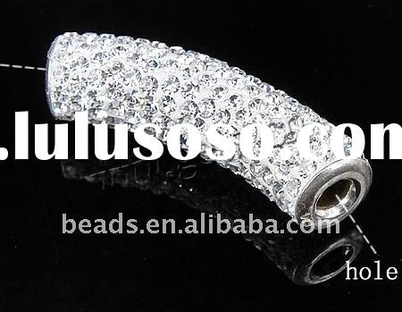 925 sterling silver tube beads with pave rhinestone
