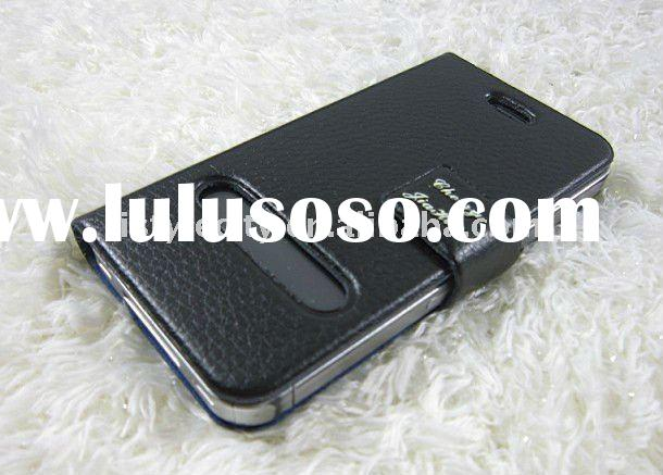 Black Super Thin Leather Flip Case Pouch Cover for iPhone 4
