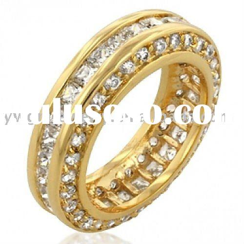 CZ Eternity Ring Gold Plated Band Three Sided Inspired by Designer
