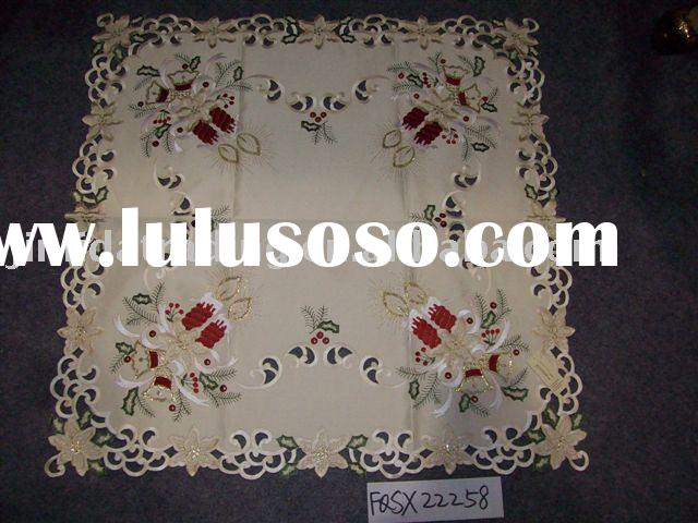 Christmas table cloth, Xmas table cover, Holiday tablecloth, embroidery table cloth, polyester table