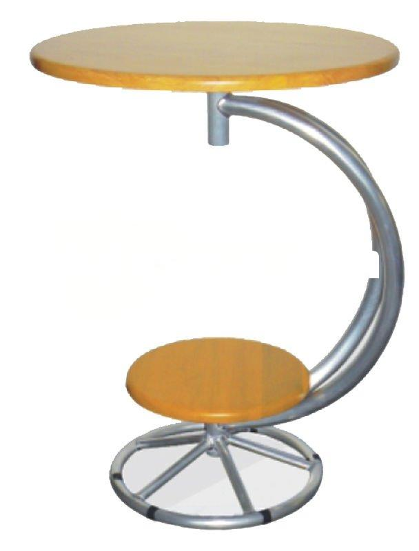 Circular wood bar table with aluminum stand (Commercial Furniture)