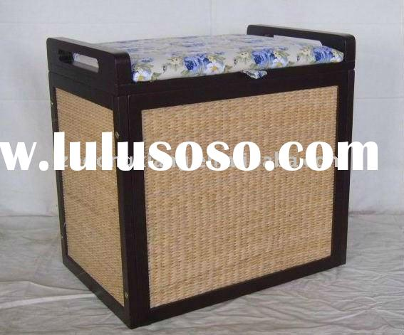 Collapsible lidded wood &handwoven Laundry basket/storage box