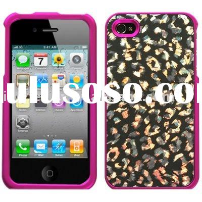 Dazzling Hard Shell Case and Screen Protector for Apple iPhone 4 (Cheetah Hot Pink)
