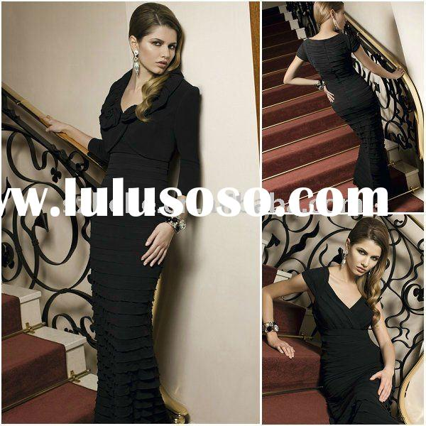 Elegant black V neck chiffon mother bridal dress with jacket M0011 formal mother of the bride chiffo