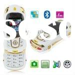 FF White, Sports Car Style, Bluetooth FM function Slide Design Mobile Phone, Dual sim card Dual stan