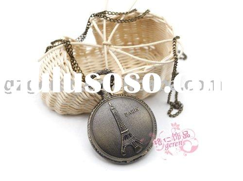 Fashion Classic Large Iron Tower Pocket Watch _ D00068o