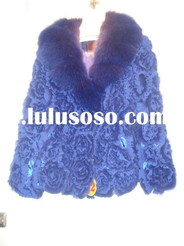 Fashion disc flowers rabbit fur coat with fox fur collar