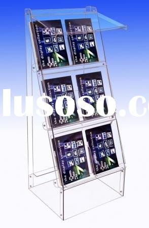Floorstanding acrylic literature/magazine holder, acrylic literature/magazine display stand or rack