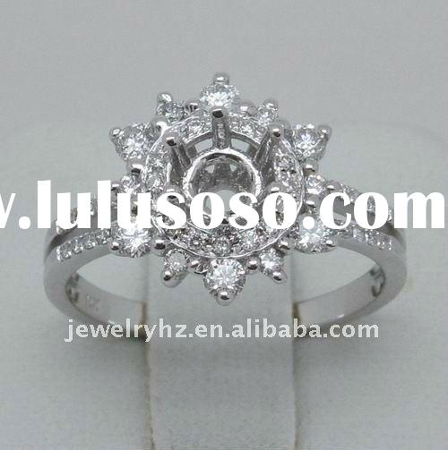 Flower Shape 5 to 5.5mm Round Cut SOLID 14k GOLD DIAMOND SEMI MOUNT RING Settings