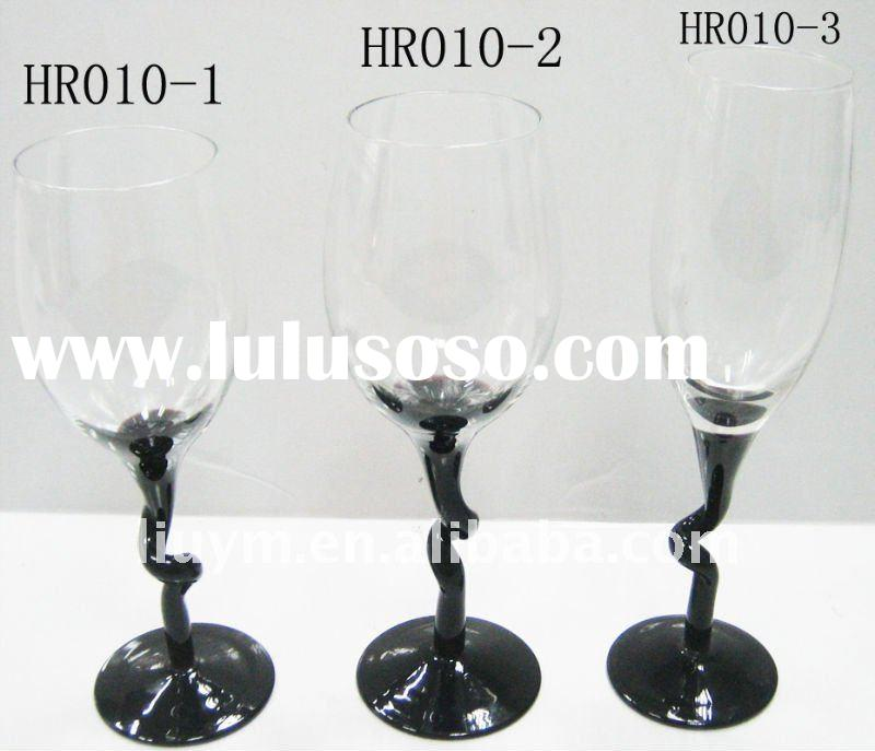 GLASSWARE KITCHENWARE TABLEWARE GLASS CUPS WINE GLASS-set for four colored with four shaped glasses