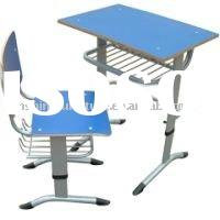 Height Adjustable School wooden Desk and Chair
