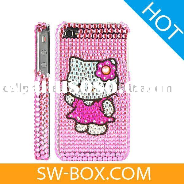 Hello Kitty Diamond Rhinestone Bling Hard Case for iPhone 4 (Pink) /for iphone rhinestone case