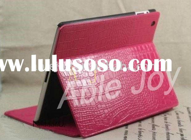 Hot pink!!Stand Genuine Crocodile leather case for ipad 2