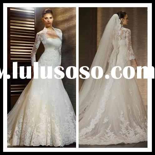 Hot sale classic long sleeve lace wedding dresses 2012