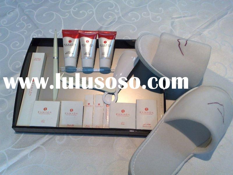 Hotel amenities, slippers, dental kit, shaving kit, shower cap, body lotion,shampoo