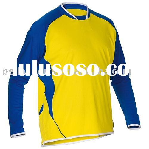 Hotsale good shape with moisture wicking material in long sleeve soccer jersey