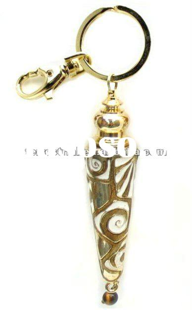 Jeweled metal key chain silver wedding gift with decorative perfume bottle
