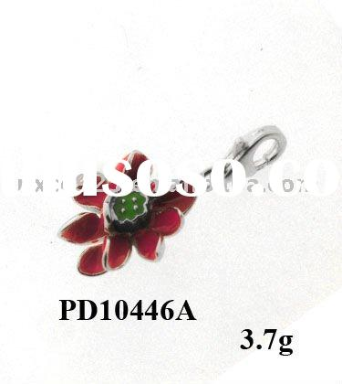 Lovely 925 sterling silver flower enamel charms and pendants