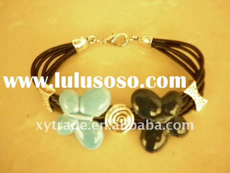 Lovely leather bracelet,butterfly bracelet,fashion enamel jewelry