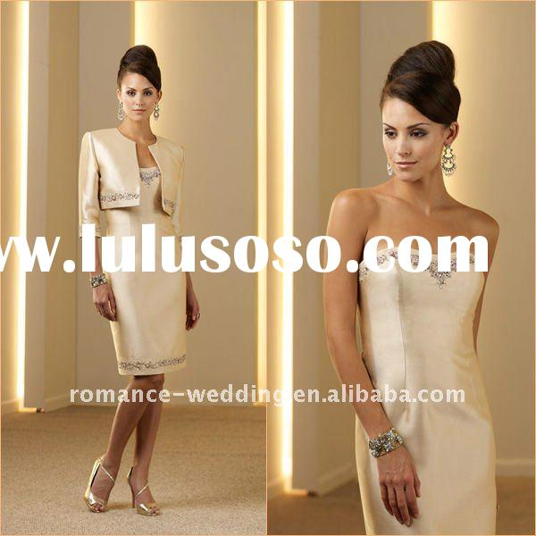 ME0015 Beaded Formal Knee-length Mother of the Bride Dress With Jacket