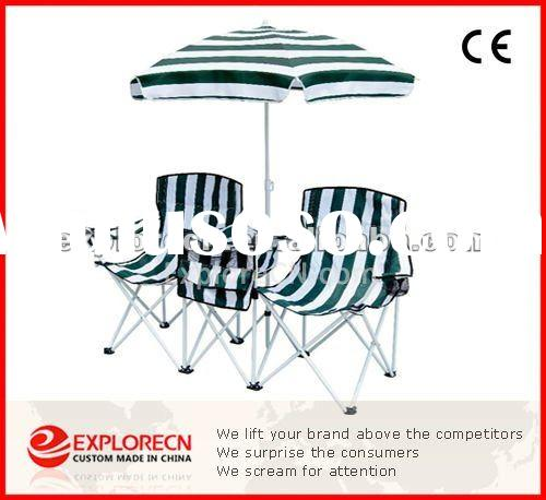 METAL BEACH CHAIR WITH UMBRELLA