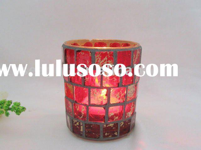 Mosaic Hurricane Candle Holder--Red&Gold Finish