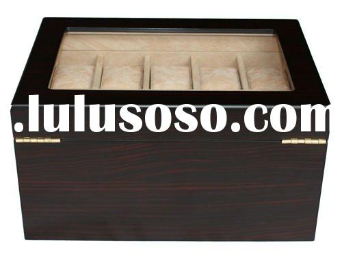 NEW 20 EBONY WALNUT WOOD WATCH JEWELRY DISPLAY CASE BOX
