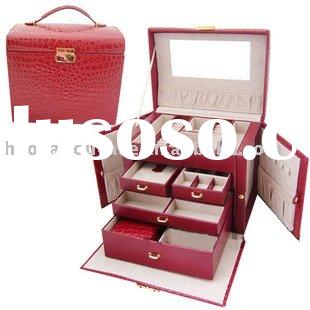 NEW LARGE RED LEATHER JEWELRY STORAGE CASE/BOX W/LOCK