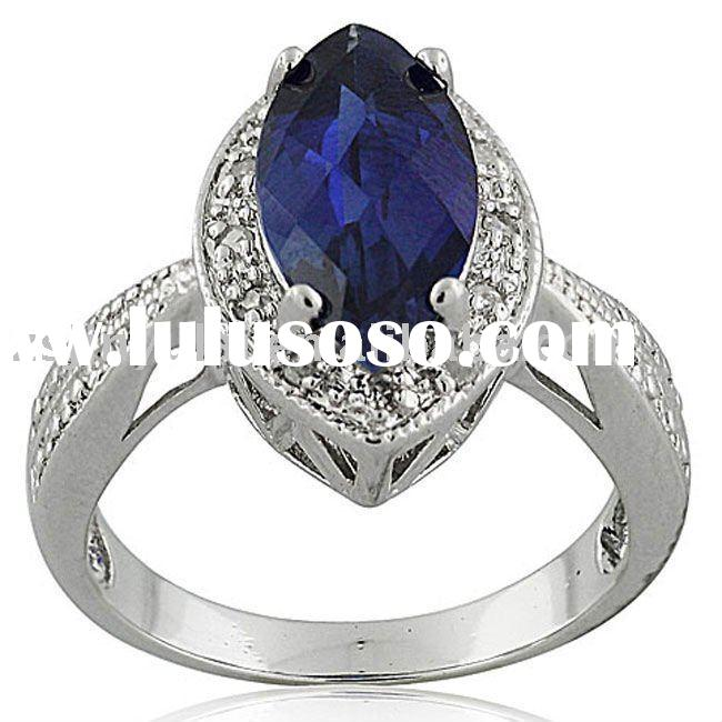 New design silver jewelry of Sapphire Diamond ring