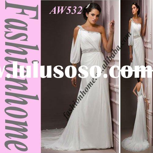 One shoulder Chiffon Half sleeve Wedding Dress AW532