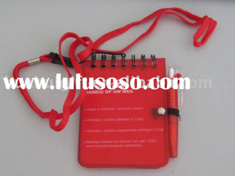 Plastic notebook with lanyard and pen