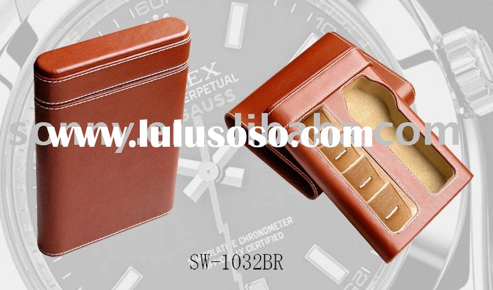 Promotion Brown Watch Travel Case and cufflink Case