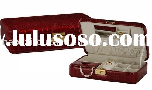 RED CROC LEATHER LIKE JEWELRY TRAVEL CASE BOX