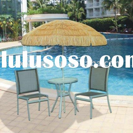 Rattan table with 2pcs rattan chair with umbrella